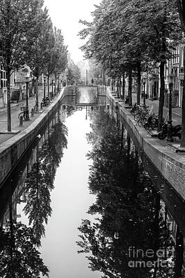 Photograph - Amsterdam Tree Reflections In The Canal 2014 by John Rizzuto