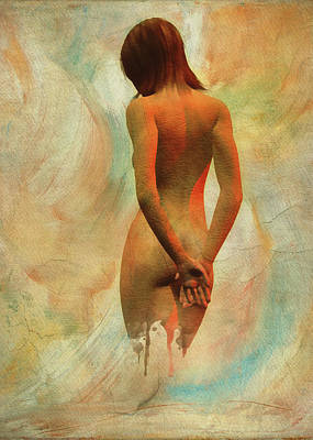 Digital Art - Amy Nude From The Back by Jan Keteleer