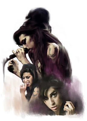 Painting - Amy Winehouse Soul Torch  by Iconic Images Art Gallery David Pucciarelli