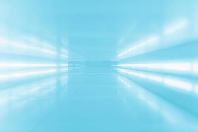 Photograph - An Abstract Corridor In Blue Tones by Ralf Hiemisch