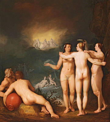 Painting - An Allegorical Scene Featuring The Three Graces by Cornelis Cornelisz van Haarlem