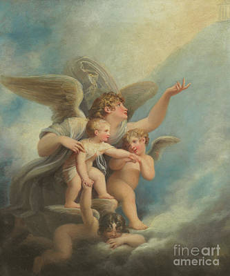 Painting - An Angel And Putti  by Maria Hadfield Cosway