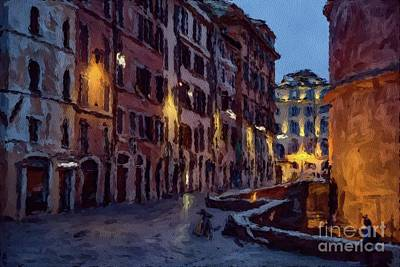 Paris Skyline Paintings - An Evening in Rome by Sarah Kirk