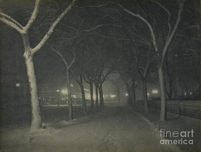 Photograph - An Icy Night, New York, 1898 by Alfred Stieglitz