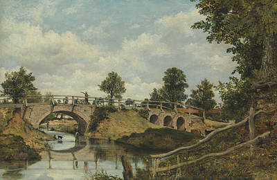 Painting - An Old Bridge At Hendon, Middlesex by Frederick W Watts