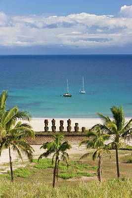 Anakena Beach, Yachts Moored In Front Art Print by Gavin Hellier / Robertharding