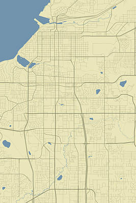 World Forgotten Rights Managed Images - Anchorage Alaska USA Classic Map Royalty-Free Image by Jurq Studio
