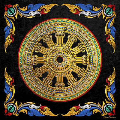 Digital Art - Ancient 12-spoked Gold Dharmachakra - The Wheel Of Dharma by Serge Averbukh