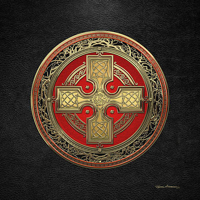 Digital Art - Ancient Celtic Sacred Gold Knot Cross Over Black Leather by Serge Averbukh