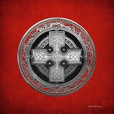 Digital Art - Ancient Celtic Sacred Silver Knot Cross Over Red Leather by Serge Averbukh