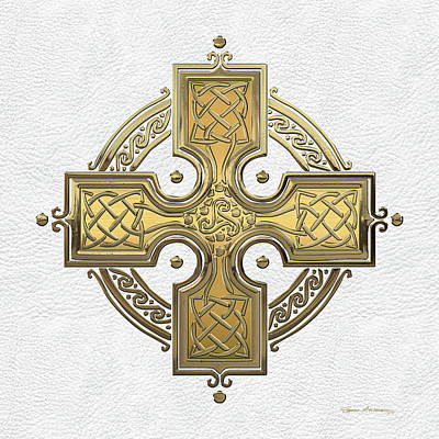 Digital Art - Ancient Gold Celtic Knot Cross Over White Leather by Serge Averbukh