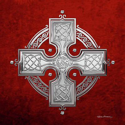 Digital Art - Ancient Silver Celtic Knot Cross Over Red Velvet by Serge Averbukh
