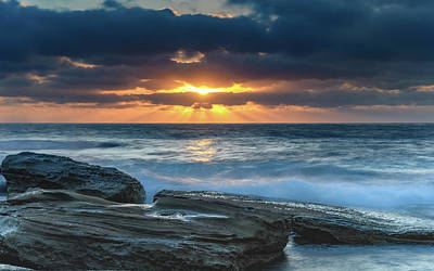 Photograph - And The Sky Lit Up - A Moody Sunrise Seascape by Merrillie Redden