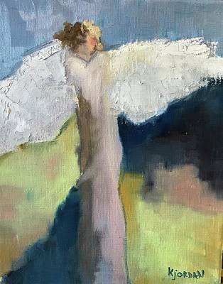 Karen Jordan Wall Art - Painting - Angel In Blue by Karen Jordan