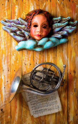 Photograph - Angel Mask With French Horn by Garry Gay