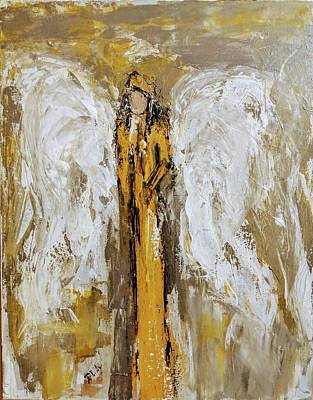 Painting - Angel With A Yellow Rose by Jennifer Nease