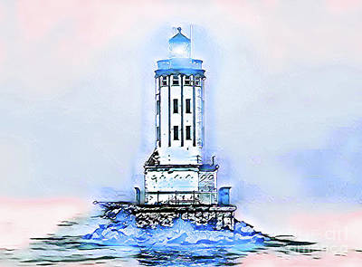 Digital Art - Angels Gate Lighthouse Blue/white Theme by Joe Lach