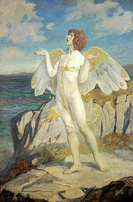 Poetic Painting - Angus Og, God Of Love And Courtesy, Putting A Spell Of Summer Calm On The Sea, 1908 by John Duncan