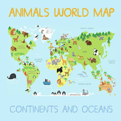 Reptiles Mixed Media - Animals World Map by Gina Dsgn