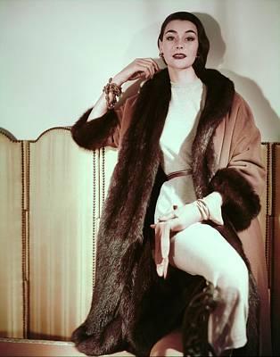 Photograph - Ann Gunning In An Originala Coat by Horst P. Horst