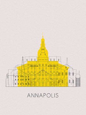 Digital Art - Annapolis Landmarks by Inspirowl Design