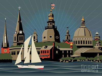 Digital Art - Annapolis Steeples And Cupolas Skyline by Joe Barsin