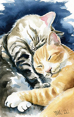 Painting - Annie And Michael Tabby Cat Painting by Dora Hathazi Mendes