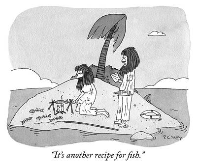 Drawing - Another Recipe For Fish by Peter C Vey