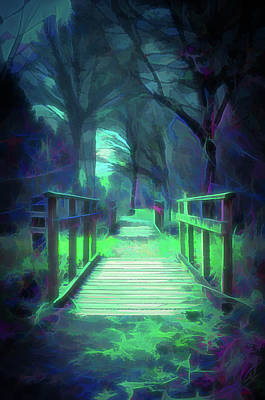 Digital Art - Another World - Wooden Bridge by Scott Lyons