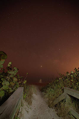 Photograph - Antaries Jupiter Venus And Saturn Over The Atlantic by Gordon Elwell