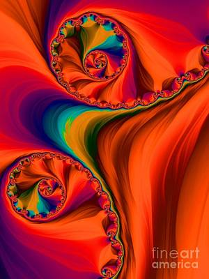 Digital Art - Antelope Canyon Orange Shadows Fractal Abstract by Rose Santuci-Sofranko