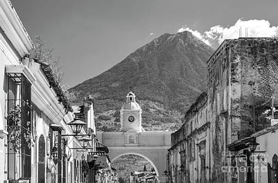 Landmarks Royalty Free Images - Antigua Guatemala Black and White Royalty-Free Image by Tim Hester