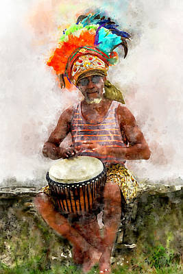 Digital Art - Antiguan Drummer by Max Huber