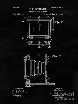 Vintage Camera Drawing - Antique Camera Blueprint Drawing Sheet Two by Tina Lavoie