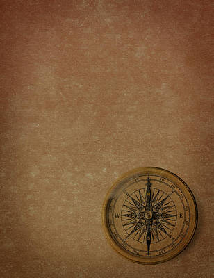 Topography Wall Art - Photograph - Antique Compass by Blackred