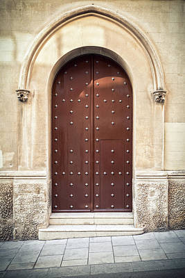 Photograph - Antique Door With Arch by © Carlos A. Oliveras