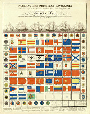 Digital Art - Antique Flag Chart by Gary Grayson