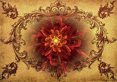 Antique Foral Filigree In Crimson And Gold Art Print