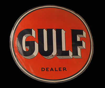 Photograph - antique Gulf dealer sign by Chris Flees