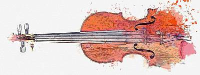 Music Royalty-Free and Rights-Managed Images - ANTIQUE ITALIAN VIOLIN watercolor by Ahmet Asar by Ahmet Asar