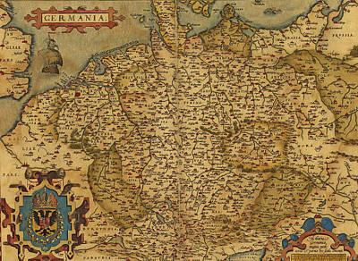 Thomas Kinkade Rights Managed Images - Antique Map of Germany Royalty-Free Image by Steve Estvanik