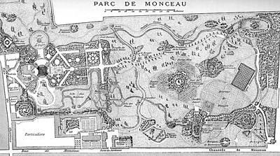 Drawing - Antique Map Of The Parc De Monceau, Paris by French School
