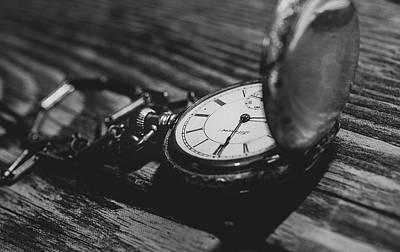 Photograph - Antique Pocket Watch Bw by Keith Smith