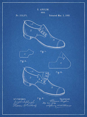 Drawing - Antique Shoe Patent by Dan Sproul
