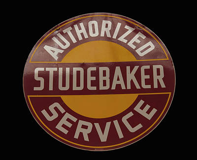Photograph - antique Studebaker porcelain sign by Chris Flees