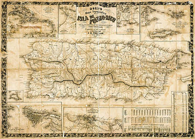 Photograph - Antique Topographical Map Of Puerto Rico 1863 While Under Spanish Rule. by Phil Cardamone