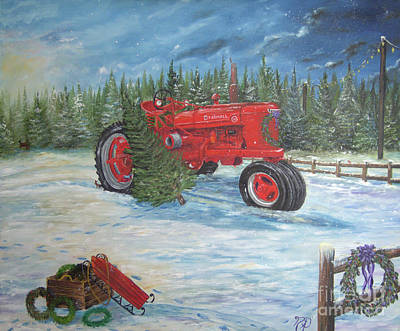 Antique Tractor At The Christmas Tree Farm Art Print