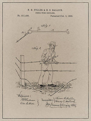 Drawing - Antique Wire Fence Patent  by Dan Sproul