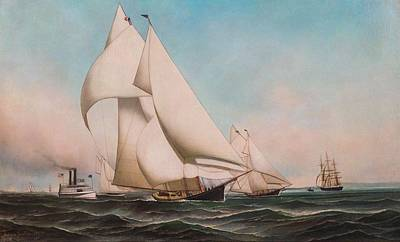 Landmarks Painting Royalty Free Images - Antonio Jacobsen Danish-American 1850-1921 New York Yacht Club Fleet Race, 1889 PALMER Leading ATA Royalty-Free Image by Antonio Jacobsen Danish-American