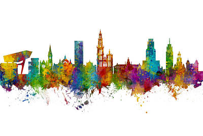 Digital Art - Antwerp Belgium Skyline by Michael Tompsett